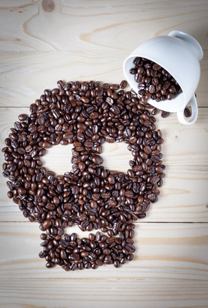 skull symbol made by coffee beans.