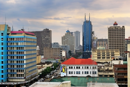 Central business district and skyline on August 24, 2010 in Nairobi, Kenya  Most of the skyscrapers in this region are the headquarters of businesses and corporations such as I M Bank Stock Photo - 13847576