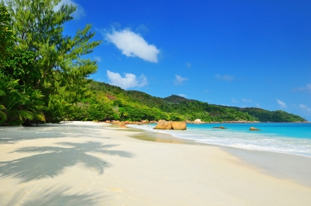 Empty beach on Seychelles islands, Praslin, Anse Lazio photo