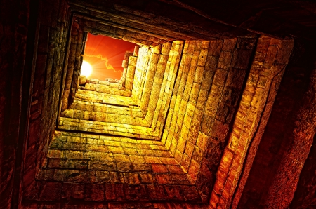 wat: The sun in a old stone well, Angkor Wat temple, Cambodia Stock Photo