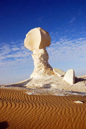 The limestone formation in White desert, Sahara, Egypt photo