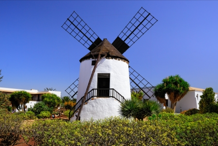 Traditional Spanish windmill in Canarian island, Fuerteventura, Spain  photo