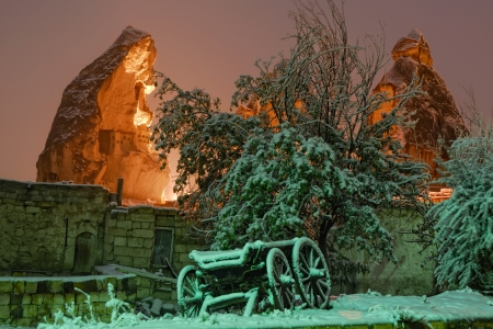 Fairy winter night in Goreme, Cappadocia area, Turkey photo