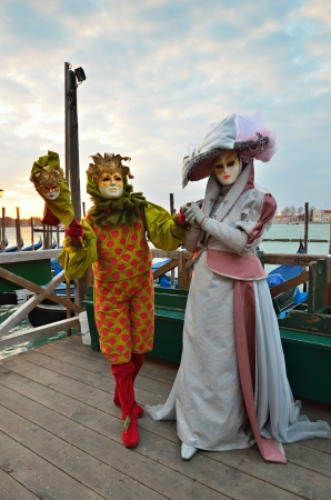 VENICE - MARCH 7  Two unidentified masked person in costume in St  Mark Stock Photo - 13847579