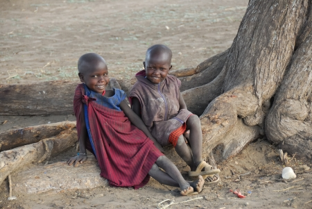 Smiled children from a Masai tribe in the Ngorongoro reserve in Tanzania