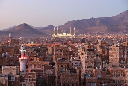 The capital of Yemen. View on the old city from roof Imagens