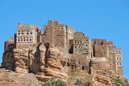 mud house: Traditional mountain village in Eastern Haraz Yemen,