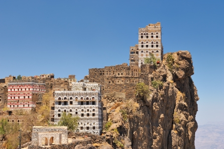 Traditional mountain village in Eastern Haraz Yemen photo