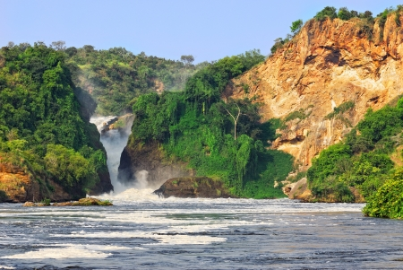 victoria park: The waterfall on the Victoria Nile, Murchison Falls , northern Uganda Stock Photo
