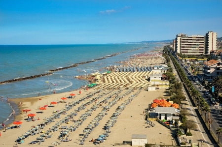 View on the Adriatic coastline with the beaches in the Montesilvano Pescara, Abruzzo reguion, Italy Editorial