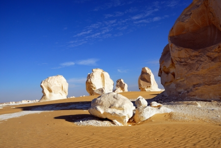 Unusual limestone formation in the White desert, Sahara, Egypt photo