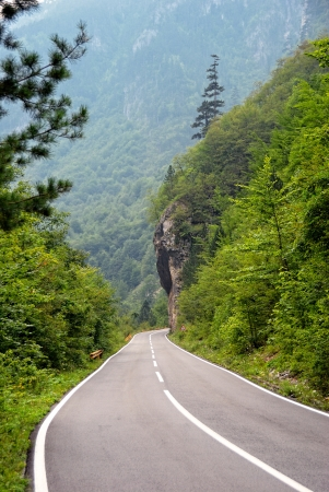 Empty mountain road in canyon, Montenegro photo