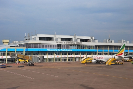 entebbe: ENTEBBE - AUG 31: International Airport is the principal international airport of Uganda shown on 31 August 2010 in Entebbe Uganda. It is located near the town of Entebbe, on the shores of Lake Victoria, and about 35 km from the capital Kampala