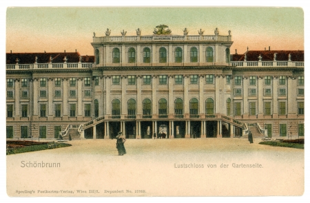 nbrunn: AUSTRIA, VIENNA - CIRCA 1910: Vintage postcard with weathered edges on white background printed in 1910, Austria. Retro image of one of the most important cultural monuments in the Vienna - Sch�nbrunn Palace, Austria