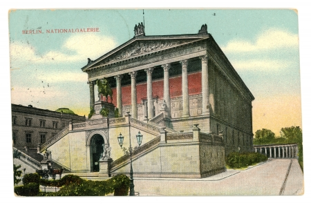 GERMANY, BERLIN - CIRCA 1907: Vintage postcard with weathered edges on white background printed in 1907, Germany. Retro image of old national gallery in Berlin, UNESCO designated World Heritage site, Germany Stock Photo - 13887413