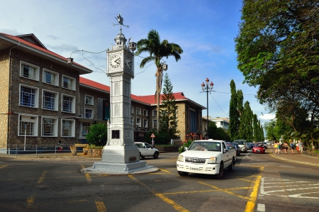 VICTORIA, SEYCHELLES – JULY 7: Victoria is smallest African capital shown on July 7, 2011, Mahe, Seychelles. Main attraction in the city a clock tower modeled on that of Vauxhall Clock Tower in London