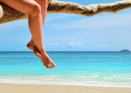 Legs of tanned woman sitting on a dry tree on the sand beach near ocean  photo
