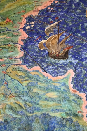 Coastline and ship. Detail of one from a series of 40 intricate geographical maps designed by Egnazio Danti in 1580 for the Vatican Palace. The maps were ordered Pope Gregory XIII