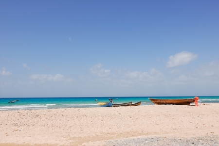 aden: Seaside of Aden gulf, fishing boats on the shore  Socotra