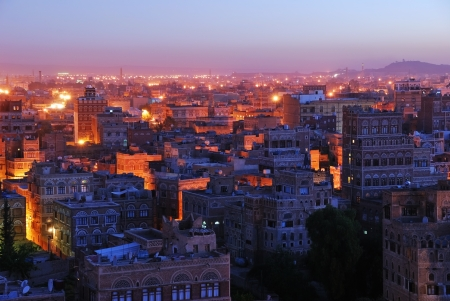 The capital of Yemen. View on the old city from roof photo