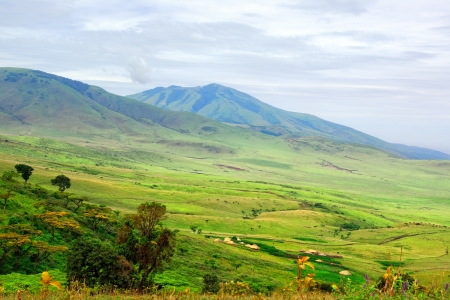 Typical african landscape with green hills on the background photo
