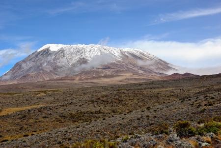 kilimanjaro: View on Uhuru peak, highest african point, worlds highest free standing mountain. Kilimanjaro, Tanzania