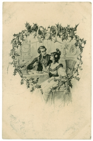 RUSSIA - CIRCA 1913: Vintage valentine card depicts loving couple with wine glasses, circa 1913, Russia. Vintage valentine day love concept