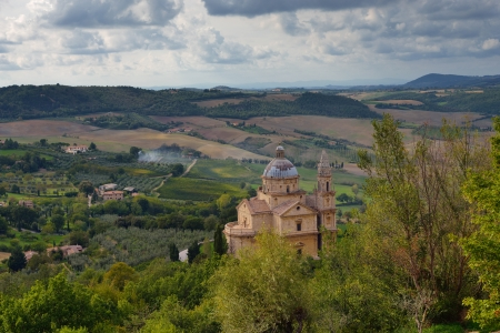 Idyllic Tuscan landscape near Montepulciano at evening time, Vall d'Orcia Italy, Europe Stock Photo - 17094929