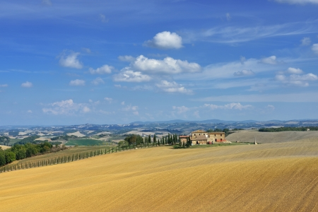Idyllic rural Tuscan landscape Vall d'Orcia Italy, Europe Stock Photo - 17094924