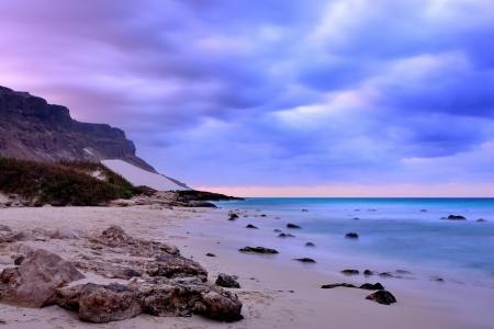 aden: Unusual colorful sanset on the Socotra island, Aden gulf coast, Yemen