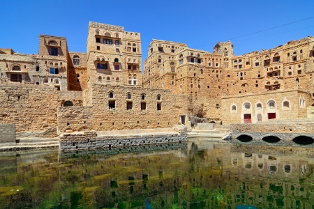 basin mountain: Public fountain basin in Habbabah, traditional  mountain village in Yemen Editorial