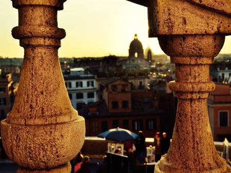 spanish steps: View through fence of the Spanish steps in Rome in sunset time, Italy