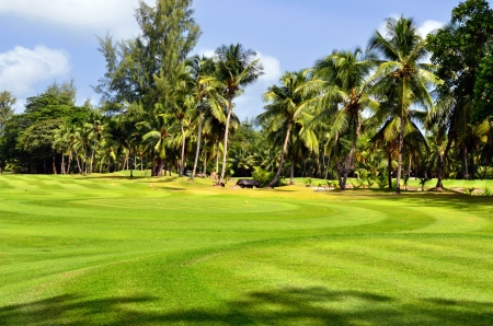 Golf field at tropical island Praslin, Seychelles photo