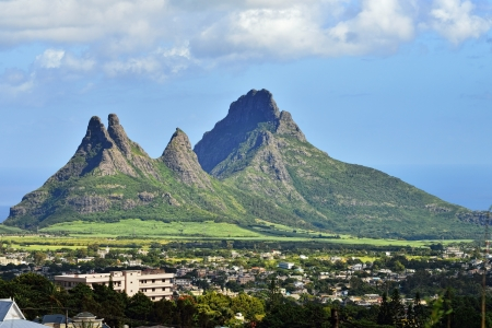 Mountain view  Trois Mamelles  in Mauritius, view form Curepipe photo