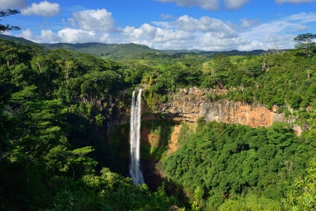 Scenic Chamarel falls in junle of Mauritius island Stock Photo