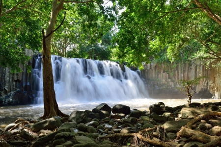 mauritius: Rochester falls in jungle of Mauritius island Stock Photo