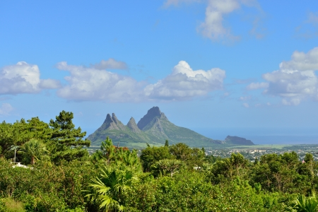 Mountain view (Trois Mamelles) in Mauritius, view form Curepipe