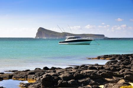Luxury boat moored, Mauritius island