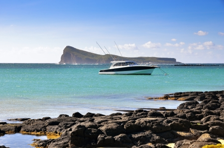 moored: Luxury boat moored, Mauritius island