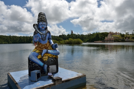 Shiva statue at Grand Bassin temple - hindu temples of Mauritius.Grand Bassin  is a sacred crater lake is one of the most important hindu pilgrimage sites outside of India Imagens
