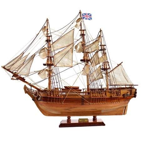HM Armed Vessel Bounty. Historic sailing ship as wooden model