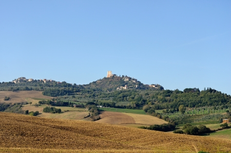 dyllic: Rural tuscan landscape, view on the village Campiglia d Stock Photo