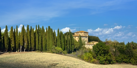 agriturismo: Idyllic rural Tuscan landscape with old farmhouse near Pienza, Vall d