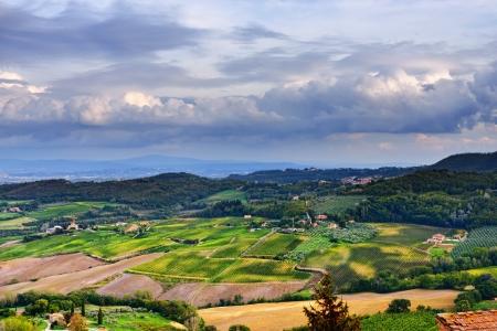 Idyllic rural Tuscan landscape near Montepulciano, Vall d photo