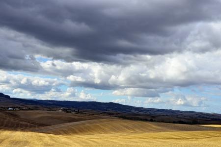 agriturismo: Idyllic rural Tuscan landscape near Pienza under thunderstorm sky, Vall d