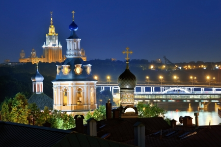 Night view on the Moscow cityscape, church, moscow river and state university of the Moscow photo