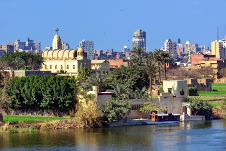 View on the Coptic Orthodox Church at Nile coast in Cairo, Egypt Imagens