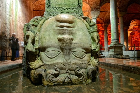 The Basilica Cistern  Yerebatan Sarnici  in Istanbul, Turkey, Medusa head
