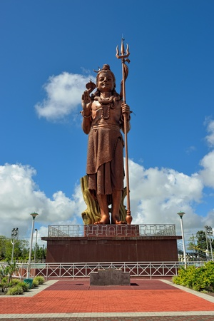 MAURITIUS - MAY 1  Shiva statue at Grand Bassin temple - most important hindu temples of Mauritius shown on May 1, 2013  It is 33 meters tall and is known as the highest statue in Mauritius Editorial