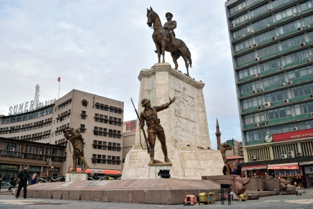 ANKARA, TURKEY - NOV 01  Ataturk monument in city center, Ulus square shown on November 01, 2009 in Ankara   Among other muslim countries, in 2013 Turkey became a site of civil conflicts